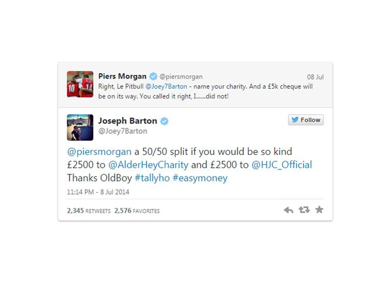 Piers Morgan donates to Alder Hey after losing charity bet to Joey Barton