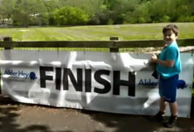 Kenzie at the finish line