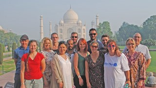 The Alder Hey trekking crew at the Taj Mahal