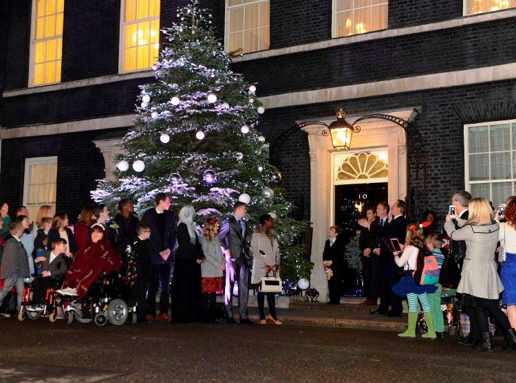 Ted McCaffrey switches on Downing Street Christmas Lights